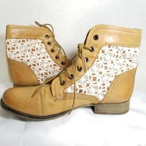 Steve Madden Tan Leather Booties Womens Size 7.5